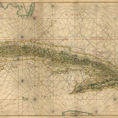 Gammal karta över Kuba